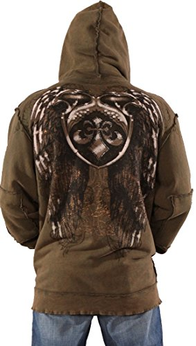 (Affliction Eagle Shield Mens Zip up Hoodie Wing Sweatshirt Olive Green)