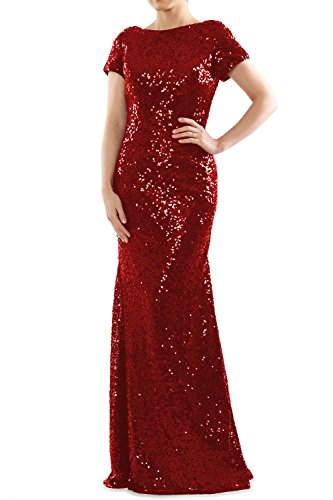 Gown MACloth Sequin Mermaid Rot Sleeves Formal Cap Long Evening Dress Bridesmaid grzUwgxCq