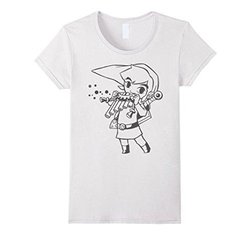 Womens Nintendo Zelda Young Link & Flute Cartoon Line Art T-Shirt Small (Cartoon Flute)