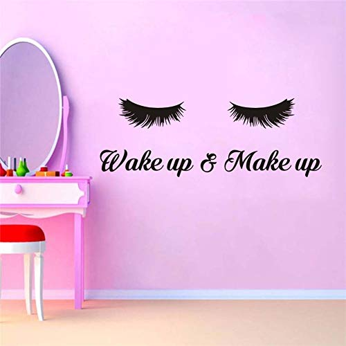 Wake Up &Make Up Wall Decal Fashion Eyelash Wall Sticker Women Beauty Quote Sticker for Bedroom Decoration 2