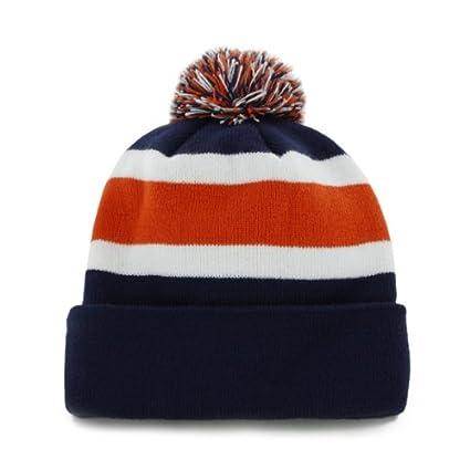 f6c20859d Amazon.com    47 Denver Broncos Navy Blue Cuff Breakaway Beanie Hat with  Pom - NFL Cuffed Winter Knit Toque Cap   Sports   Outdoors