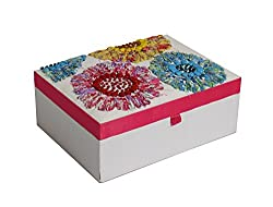Handcrafted Embroidered & Beaded Floral Storage Box Jewelry Organizer