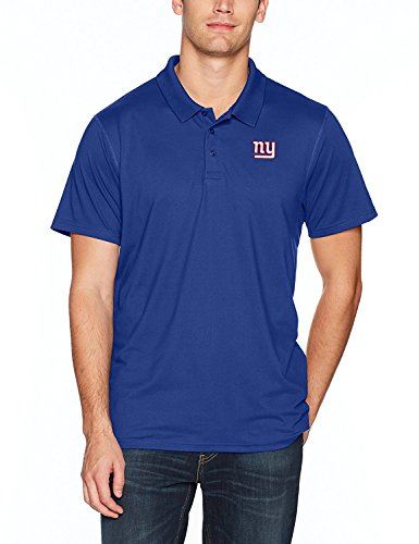 OTS NFL New York Giants Men's Sueded Short Sleeve Polo Shirt, Royal, Medium -