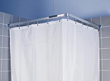 Curtains Ideas ceiling track shower curtain : CHROME FLEXIBLE CORNER BATH SHOWER CURTAIN RAIL TRACK: Amazon.co ...