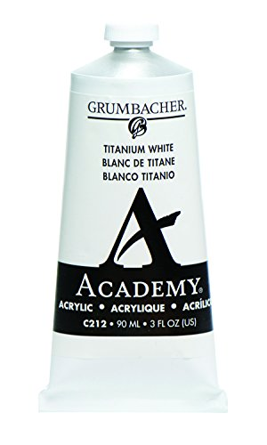 Grumbacher C212 Academy Acrylic Paint, 90ml/3 oz Metal Tube, Titanium White