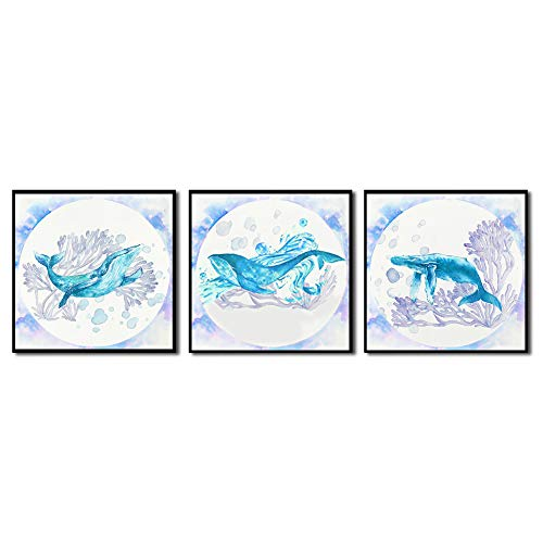 """YOOOAHU 3 Pieces Canvas Prints Home Wall Decor Art Marine Animals Watercolor Dreamy Lake Blue Whales roam The Coral Sea Ocean Animal Pictures Modern Artwork Ready to Hang -12""""x12""""x3 Panels(BLK)"""