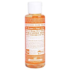 Dr. Bronner Tea Tree Pure-Castile Soap - 4 Fluid Ounces 79 SMOOTH AND MOISTURIZING: The organic and vegan ingredients are combined with a pure-castile liquid soap base for a rich, emollient lather and a moisturizing after feel. NATURAL: Smooth and luxurious soap with no synthetic detergents or preservatives, as none of the ingredients or organisms are genetically modified. CERTIFIED ORGANIC AND VEGAN: Certified organic by the USDA National Organic Program and certified Vegan by Vegan Action.