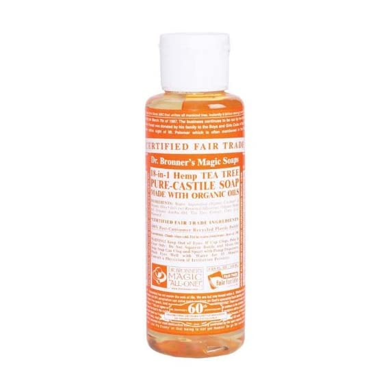 Dr. Bronner's Pure-Castile Liquid Soap for Acne-Prone Skin, Dandruff, Laundry, Pets and Dishes, Concentrated, Vegan, Non-GMO - Tea Tree, 4 ounce 1 MADE WITH ORGANIC OILS and CERTIFIED FAIR TRADE INGREDIENTS: Dr. Bronner's Pure-Castile Liquid Soaps are made with over 90% organic ingredients. Over 70% of ingredients are certified fair trade, meaning ethical working conditions and fair prices. GOOD FOR YOUR BODY and THE PLANET: Dr. Bronner's liquid soaps are fully biodegradable and use all-natural, vegan ingredients that pose no threat to the environment. Our products and ingredients are never tested on animals and are cruelty-free. NO SYNTHETIC PRESERVATIVES, DETERGENTS, OR FOAMING AGENTS: Our liquid soaps are made with plant-based ingredients you can pronounce-no synthetic preservatives, thickeners, or foaming agents-which is good for the environment and great for your skin!