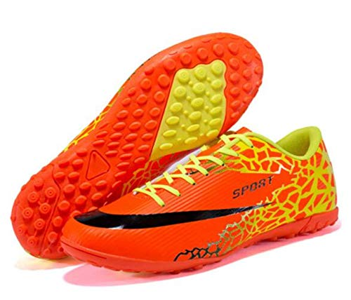 Soccer Shoes Lichunmei Man Non-Slip Training Sneakers Youth Sports Shoes-Orange TF -