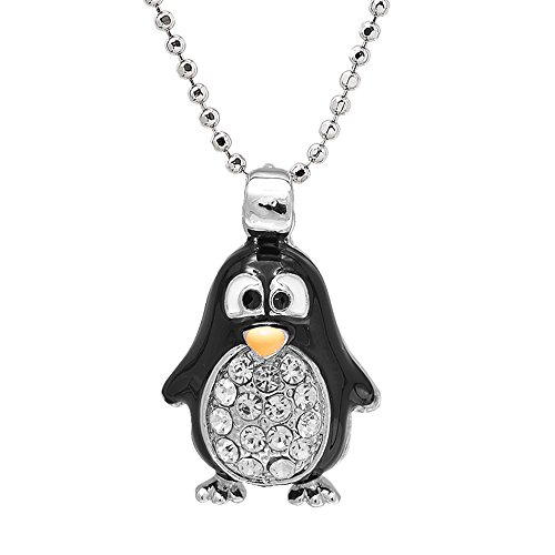 Penguin Charm Pendant - Spinningdaisy Silver Plated Round Body Cute Black Penguin Necklace