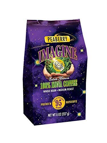 Kona Coffee Beans by Imagine - 100% Kona Hawaii - Medium Dark Roast Whole Bean (Peaberry - 8oz.)