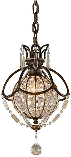 "Feiss P1178OBZ/BRB Bellini Crystal Pendant Lighting, 1-Light, 60watts, Bronze (5""W by 15""H)"