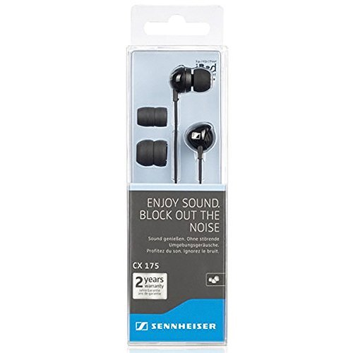 Sennheiser Cx 175 Street Line Headphones (Black) Ear-canal In-ear Headphones Special Gift for Good One Fast Shipping Ship Worldwide (Discontinued by Manufacturer)