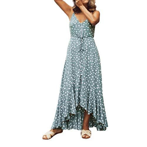 Price comparison product image Ximandi Women's Bohemia Wave Sleeveless Halter V-Neck Button Casual Summer Maxi Dress Sky Blue