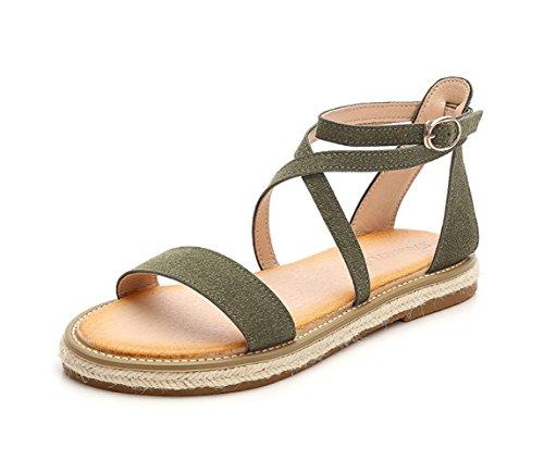 Römersandalen Stilvolle Schnalle Sommer Hanf Crossover Mode Einfache Green Schnürung 7IYwqAwd