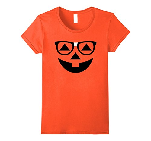 Womens Funny Halloween T-Shirt Nerdy Pumpkin Face Glasses Costume Large Orange