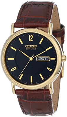 "Citizen Men's BM8242-08E ""Eco-Drive"" Gold-Tone Stainless Steel and Leather Watch by Citizen"