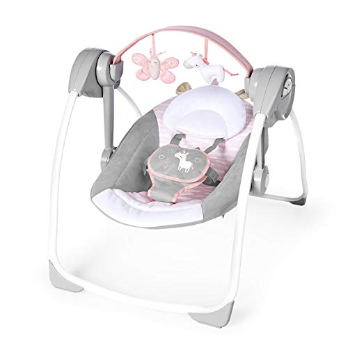 Ingenuity Comfort 2 Go Portable Swing Flora Compact Swing with TrueSpeed Butterfly Infant Baby Swing
