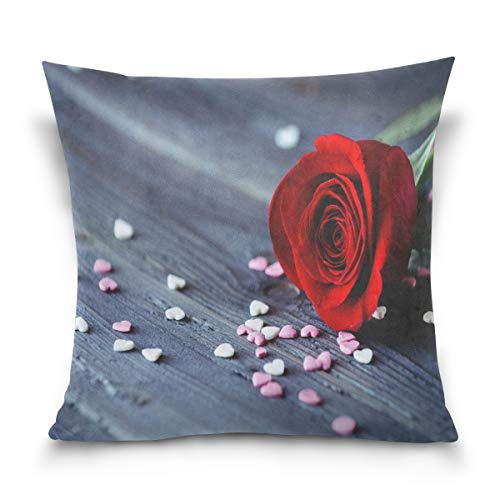 ANJISY Throw Pillow Case Square 18 x 18 Inch Rose Heart Wallpaper Cushion Cover for Sofa/Bedroom/Car