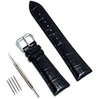 Vetoo 20mm Leather Watch Band, Genuine Cowhide Replacement Watch Strap for Men and Women Black