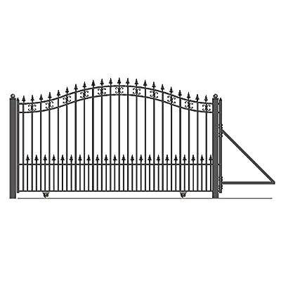 ALEKO DG16STPSSL St. Petersburg Style Single Sliding Galvanized Steel Driveway Security Gate 16 x 6 Feet Black