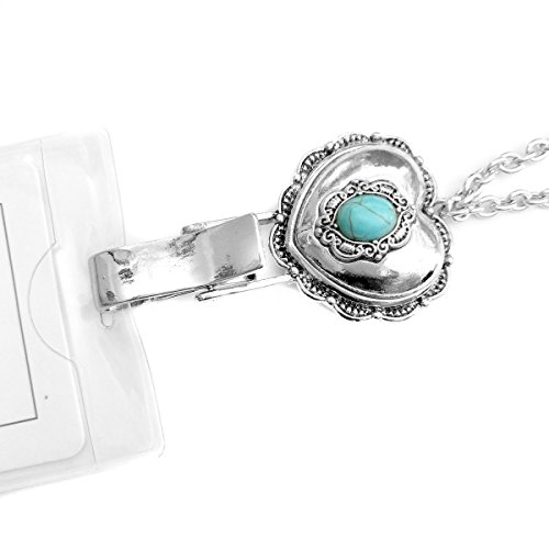 Antiqued Silver Heart with Turquoise Stone: Lanyard Chain Necklace with ID/Badge/Card Holder (+Bonus Pouch)