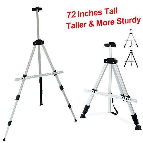 "T-Sign 72'' Tall Display Easel Stand, Aluminum Metal Tripod Art Easel Adjustable Height from 22-72"", Extra Sturdy for Table-Top/Floor Painting, Drawing and Display with Bag, Sliver from T-Sign"
