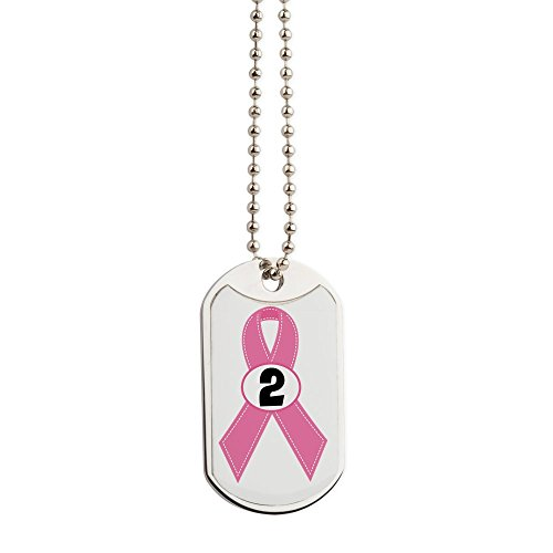 CafePress - Breast Cancer 2 Year Ribbon - Military Style Dog Tag, Stainless Steel with Chain