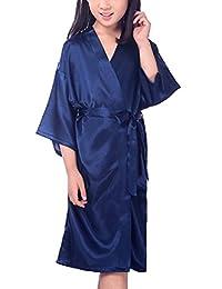 Admireme Kids' Satin Kimono Robe Bathrobe Silk Nightgown for Spa Party Wedding Birthday
