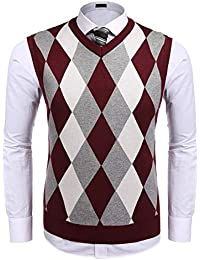 Men's Casual Slim Fit V-Neck Rhombus Knitwear Sleeveless Pullover Sweater Vest