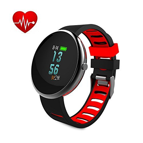 Fitness Tracker Paick Activity Tracker Heart Rate Monitor Blood Pressure Smart Bracelet Bluetooth Wristband Sleep Monitor Call Reminder Waterproof Smart Watch for IOS Android Black + Red Band