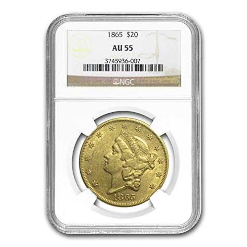 1865 $20 Liberty Gold Double Eagle AU-55 NGC G$20 AU-55 NGC