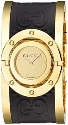 Gucci Twirl Gold Dial Ladies Two Tone Bangle Watch YA112444
