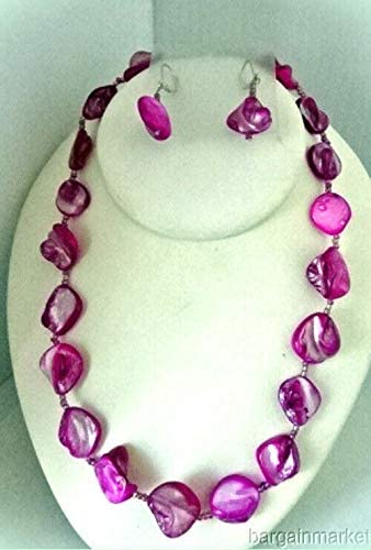 Raspberry Pink Sea Shell Necklace Earrings for Women Set