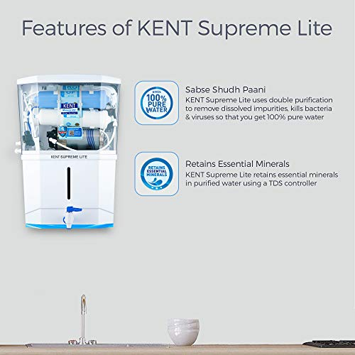 KENT Supreme Lite 2020 Wall Mount RO, UF, TDS Control Water Purifier