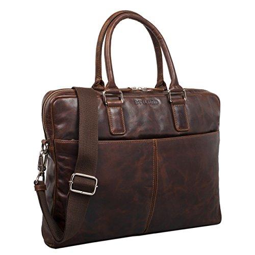 STILORD 'Emilio' Vintage Bolso bandolera hombres mujeres auténtico piel grande A4 maletín de trabajo bolso de mano elegante bolso de negocios para laptop 13,3 pulgadas, Color:negro mocca - marrón oscuro