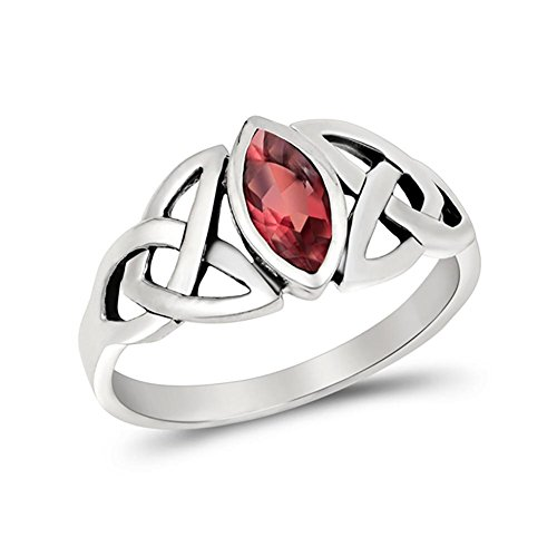Blue Apple Co. Celtic Bezel Marquise Solitaire Ring Simulated Ruby 925 Sterling Silver,Size-7 ()