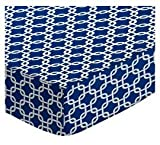 SheetWorld Fitted Pack N Play (Graco) Sheet - Royal Blue Links - Made In USA