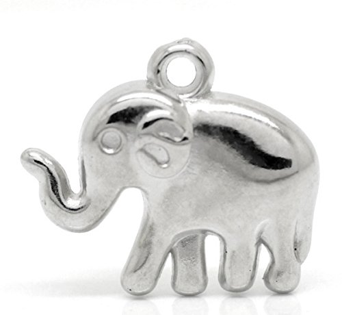 Housweety Plastic Elephant Pendants 24mmx21mm
