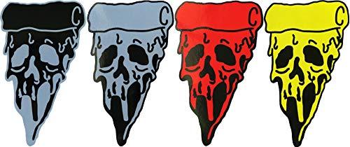 visarn Pizza Skull (Mix) Biker Heavy Metal Horror Goth Punk Emo Rock DIY Logo Sticker for Car Window Bumper Laptop Sticker Decals Gift Size 2.25 x 4 inch -