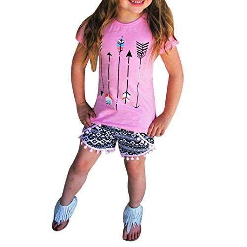 TIFENNY Clearance Girls Arrow Printed Shirt Tops+Tassels Short Pants Set (5T, Pink)