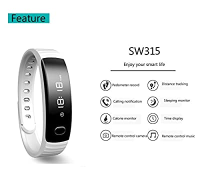 Pashion Smart Wristband Bracelet Fitness Tracker Bluetooth 4.0 Health Pedometer Sports Exercise/ Calling/ Messages/ Sleep Quality Monitor For Andriod and iOS Phone