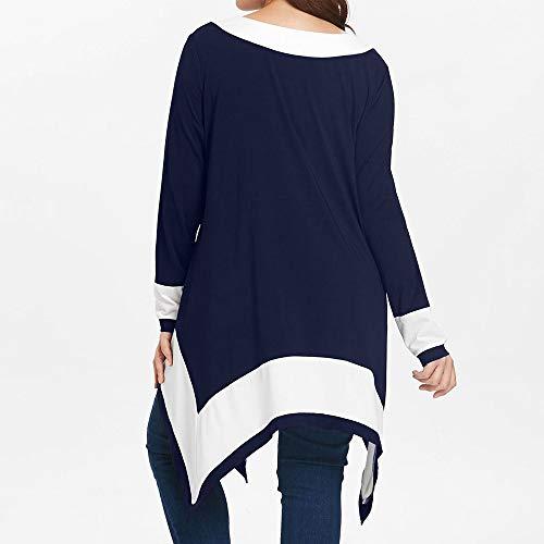 Irregular Blouse Women Plus Sleeve Patchwork Pullover