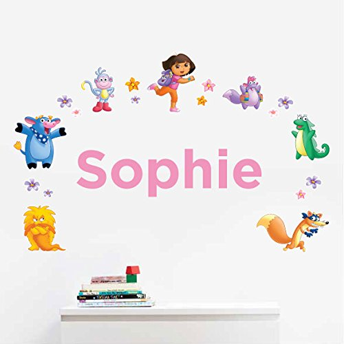 Personalized Dora the Explorer TM Kids Name Wall Decal
