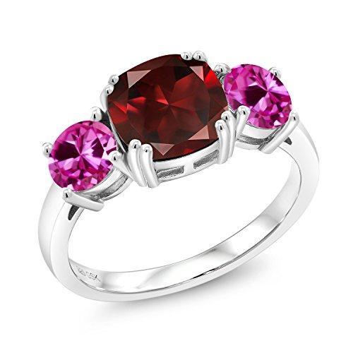 3.84 Ct Cushion Red Garnet Pink Created Sapphire 925 Sterling Silver Meghan (Garnet Pink Sapphire)