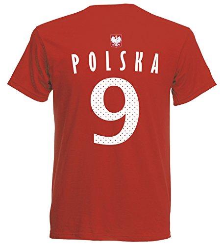 Polen Polska Herren T-Shirt Nummer 9 Trikot Fußball Mini EM 2016 T-Shirt - S M L XL XXL - rot NC ST-1