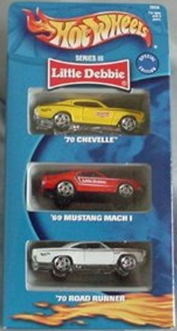 Hot Wheels Little Debbie Series III 3 Three Pack: Chevelle, Mustang Mach I, Road Road Runner Gift Set