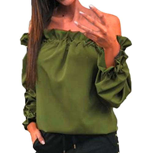 Sunhusing Women's Off Shoulder Solid Color Long Sleeve Pleated Ruffled Lantern Sleeve ()