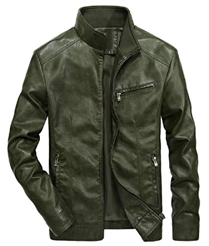 EnergyMen Motorcycle Stand Collar Fleece Lined Leather Trench Coat Green