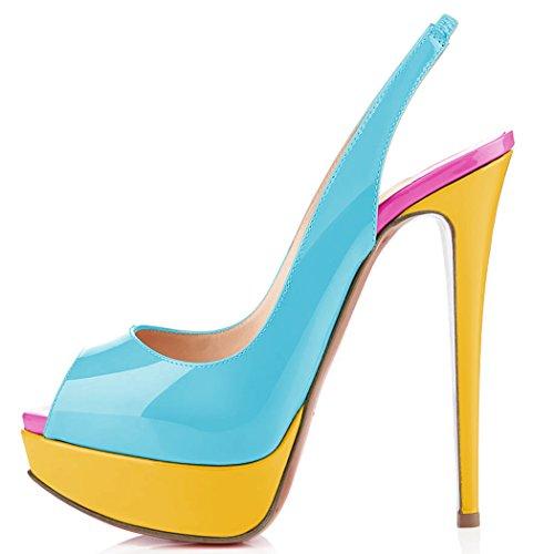 uBeauty Damen Stilettos Slingback Fußgelenkriemchen Sandalen mit Plateau Peep Toe Multicolor Schuhe Grün A